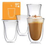 Latte Cups Double Walled Coffee Glasses Set of 4 $22.99 (REG $49.99)