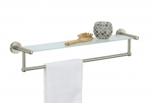 Satin Nickel Glass Shelf with Towel Bar $21.59 (REG $36.60)