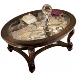 Norcastle Glass Top Coffee Table – Cocktail Height – Oval – Dark Brown $225.34 (REG $449.00)