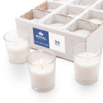 Candles Bulk Set of 36 with White Candles Wax Filled in Clear Glass Holders $28.99 (REG $50.99)