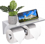 LIGHTNING DEAL!!! Stainless Steel Double Toilet Rolls Bathroom Tissue Holder, with Cell Phone Tray$16.99 (REG $32.99)