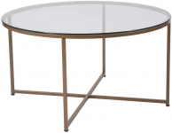 Flash Furniture Greenwich Collection Glass Coffee Table with Matte Gold Frame $83.22 (REG $175.00)