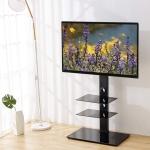 Black Floor TV Stand with Universal Swivel Bracket Mount $90.99 (REG $219.99)