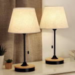 Table Lamp Set of 2, Wood Desk Lamps with Neutral Shade & Soft$43.99 (REG $89.99)