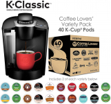 Keurig K-Classic Coffee Maker with Coffee Lover's 40 ct K-Cup Pods Variety Pack, Black $58.99 (REG $103.99)