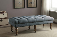 Linon Isabelle Washed Linen Bench, 50″, Blue $123.63 (REG $429.99)