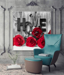 Wall Art Rose Canvas Prints Black White Red Roses Flowers Wall Decor $3.99 (REG $12.99)