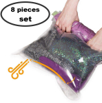 8 Travel Space Saver Bags No Vacuum or Pump Needed – for Clothes $10.50 (REG $17.88)
