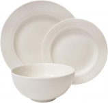 Tabletops Gallery Embossed Bone White Porcelain Round Dinnerware Collection $32.99 (REG $69.99)