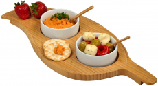 Picnic at Ascot Bamboo Leaf Shaped Serving Board with 2 Ceramic Bowls & Bamboo Spoons $18.00 (REG $61.52)