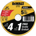 DEWALT Cutting Wheel, General Purpose Metal Cutting, 4-1/2-Inch, 5-Pack (DW8062B5) $2.99 (REG $8.69)
