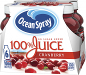 Ocean Spray 100% Juice, Cranberry, 10 Ounce Bottle (Pack of 6) $3.72 (REG $6.79)