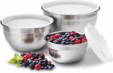Cuisinart CTG-00-SMB Stainless Steel Mixing Bowls with Lids, Set of 3 $21.53 (REG $64.00)