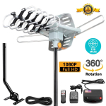 LIMITED TIME: Amplified HDTV Antenna 150 Mile Motorized with Adjustable Antenna Mount Pole $49.99 (REG $199.99)