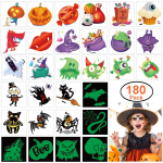 180pcs Assorted Halloween Tattoos, 30 Designs including 36 Glow in the Night $7.99 (REG $19.99)