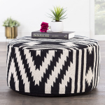 Jaipur Tribal Pattern Black Cotton Pouf, 24-Inch x 24-Inch x 12-Inch, Peat Geo $96.41 (REG $365.00)