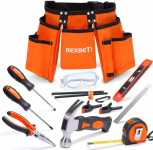 REXBETI 15pcs Young Builder's Tool Set with Real Hand Tools$25.49 (REG $59.99)