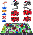 Fire Truck Toys with Play Mat, 6 Fire Engines, 3 Road Signs $9.99 (REG $16.99)