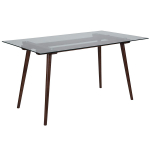 Rectangular Solid Walnut Wood Table with Clear Glass Top $158.88 (REG $384.00)