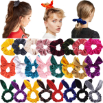 24PCS Hair Scrunchies Rabbit Ears Bow Knotted Scrunchies Velvet Hair Bow $6.67 (REG $12.99)