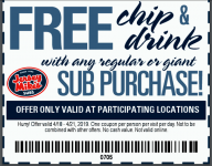 Jersey Mike's Subs Free Chips & Drink W Purchase