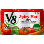 V8 Spicy Hot 100% Vegetable Juice, 5.5 oz. Can, 6 Count $2.98 (REG $7.31)