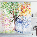 Ambesonne Tree Shower Curtain, Watercolor Style Tree with Colorful Blooming Branches$14.95 (REG $39.99)
