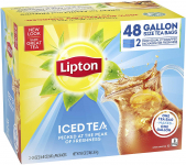 Lipton Gallon-Sized Black Iced Tea Bags, Unsweetened, 48 ct $10.52 (REG $22.57)