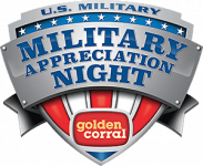 Free 'thank You' Dinner for The Person Who Served (11-11-19) Military Appreciation at Golden Corral