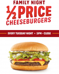 Sonic Drive-In / 1/2 Price Cheese Burgers 5PM-Close / Tuesday