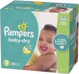 Pampers Baby Dry Diapers Size 3, 210 Count, ONE MONTH SUPPLY $20.13 (REG $53.99)