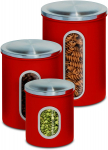 Honey-Can-Do KCH-03011 3-Piece Metal Nested Canister Set, Red $17.31 (REG $34.99)