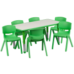 Rectangular Green Plastic Height Adjustable Activity Table Set with 6 Chairs $146.99 (REG $313.00)