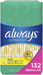 Always Ultra Thin, Size 1, Regular Pads, 132 Count, Unscented $15.42 (REG $28.59)