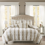 Faux Fur Bedroom 4 Pieces Animal Print Bed Comforter Set, King, Sand $85.57 (REG $250.00)