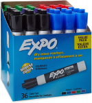 EXPO Low Odor Dry Erase Markers, Chisel Tip, Assorted, 36 Count (Pack of 1) $18.37 (REG $28.99)
