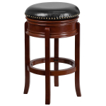 "29"" High Backless Light Cherry Wood Barstool with Black Leather Swivel Seat $84.96 (REG $208.00)"