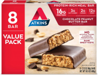 Atkins Protein-Rich Meal Bar, Chocolate Peanut Butter, Keto Friendly, 8 Count $9.59 (REG $18.22)