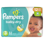 Diapers Size 3, 32 Count – Pampers Baby Dry Disposable Baby Diapers $8.99 (REG $15.29)