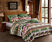 Black Bear and Moose 3pc King Size Quilt and Pillow Sham Set $57.00 (REG $199.99)