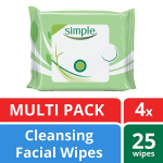 Simple for Sensitive Skin Face Cleansing Wipes 25 wipes, 4 count $11.98 (REG $20.99)