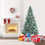 SHareconn 6.5ft Unlit Artificial Hinged Christmas Tree Snow Tree $69.99 (REG $119.99)