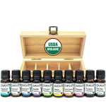 PURA D'OR Perfect 10 Essential Oil Wood Box Set 10mL USDA Organic 100% Pure $19.99 (REG $29.99)