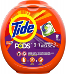 81 Count, Tide Pods 3 in 1, Laundry Detergent Pacs For $15 (REG$20)