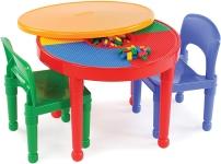 Tot Tutors Kids 2-in-1 Plastic Building Blocks-Compatible Activity Table & Chairs Set $39.99 (REG $77.00)
