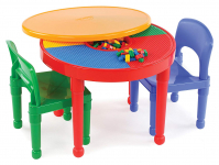 2-in-1 Plastic Building Blocks-Compatible Activity Table and 2 Chairs Set $39.99 (REG $77.00)