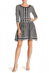 Nina Leonard 3/4 Sleeve Geometric Print Dress $34.97 (REG $70.00)