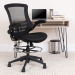 Mid-Back Black Mesh Drafting Chair with Adjustable Foot Ring and Flip-Up Arms $125.95 (REG $282.00)