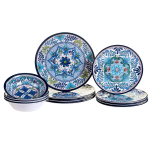 12 Piece Talavera Melamine Dinnerware Set, Multicolor $50.48 (REG $124.50)