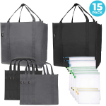 Reusable Folding Grocery and Produce Bags: 6 Large Fabric Totes with Handles $16.99 (REG $29.99)